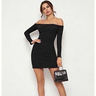 長袖平口-荷花邊短洋裝