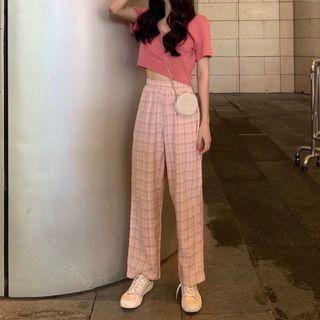 粉紅色格子雪紡九分寬褲 鬆緊腰 雪紡寬褲 格紋長褲 休閒直筒褲