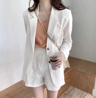 ✨棉麻西裝  夏薄款韓版長袖休閒氣質套裝(S號)