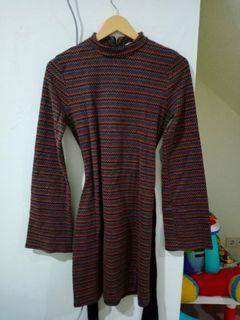 Dress zara motif garis