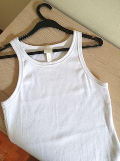 H&M White Ribbed Vest Tank Top (like Zara, love bonito)