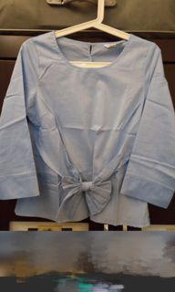 專櫃ma tsu mi水藍優雅上衣