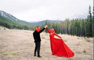 Maternity/Engagement/Photoshoot  Long Train Red Gown