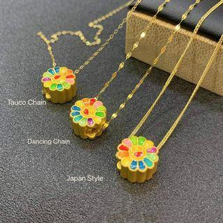 New! Pre-order 🥇 24K Colorful Sunflower  Pendant/Necklace Set  💯% Authentic,pawnable, money back guarantee