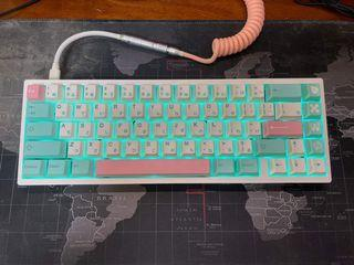 Perfect Teal Blue and Pink Aesthetic Keycaps Set for Mechanical Keyboard