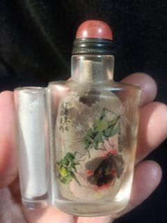 珍藏清末天然水晶鼻煙壺內畫~馬紹先作