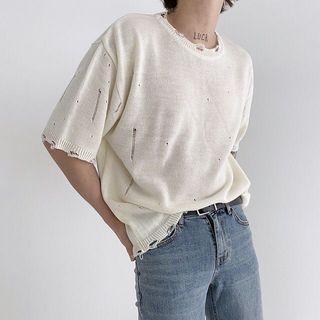 韓國鉤破痕破壞針織短袖上衣 (米白)