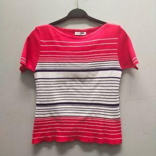 Kaos tshirt wanita merah putih garis hitam
