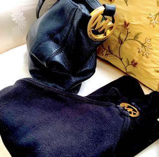Michael Kors Black Leather Bag and Top Set