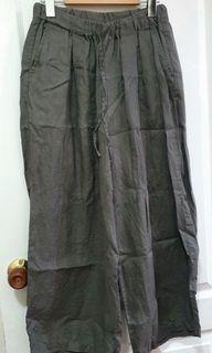 <二手>MUJI 無印良品 法國亞麻寬擺褲 橄欖綠