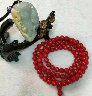 天然緬甸玉  如意壽翁+早期紅漆木108顆圓滿念珠