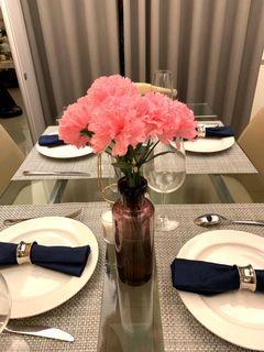 桌邊傢俱擺飾 琉璃玻璃花瓶(仿真花)