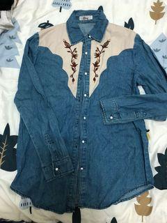 牛仔 繡花 造型上衣 襯衫