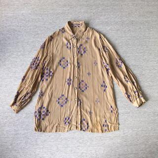 古著 vintage | 復古 幾何 薑黃 紫 撞色 三角 圖騰 印地安 民族 雪紡 微透 長袖 襯衫 上衣