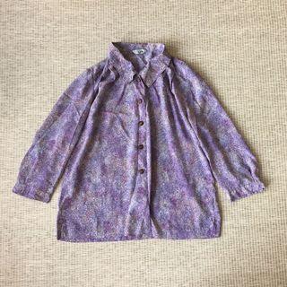 日本古著 vintage | Cbland | 復古 超美 夢幻 紫陽花 紫羅蘭 紫 渲染 碎花 漸層 雪紡 長袖 襯衫