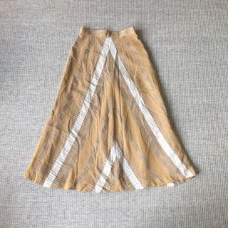 日本古著 vintage | Uaporetto | 日本製 三角 幾何 棉麻 民族 黃 立體織紋 傘裙 長裙 半身裙