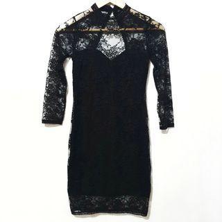 H&m lace seethrough sexy black dress
