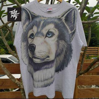 Kaos Vintage 90s Big Wolf Face Trinity XL
