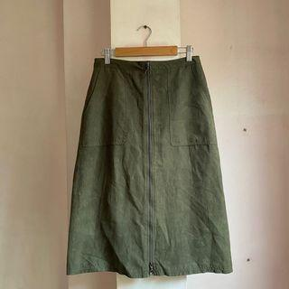 New Look Olive Army Green Midi Skirt