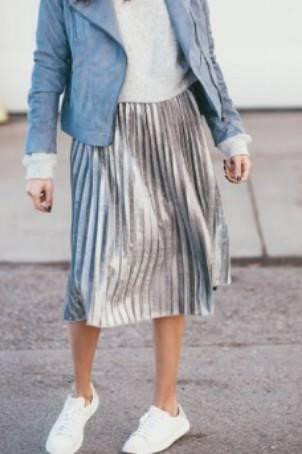 Silver metallic midi pleated, a-line skirt