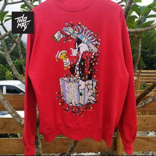 Vintage 90s Looney Tunes Tweety Sylvester Christmas Sweatshirt XL