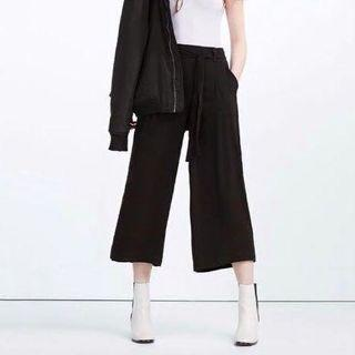 Zara Black Belted Wide Leg Culottes