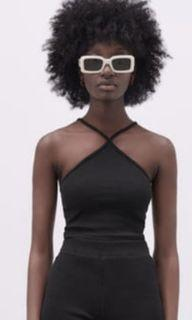 Zara Black Ribbed Crop Top