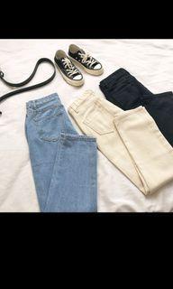 米色直筒褲