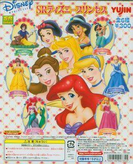 全套 日本 yujin disney 迪士尼 動漫風 美人魚 公主 美女與野獸 貝兒 灰姑娘 阿拉丁 茉莉 睡公主 白雪公主 扭蛋 擺設 figure