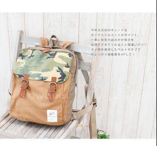 【現貨】日本進口 Anello 全新正品 水洗復古迷彩 帆布後背包 日系帆布包 沙色/奶茶色