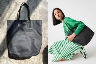 Preloved Authentic / Original Lacoste Concept Vertical Zip Tote Bag in Black