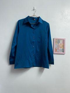 絲亮亮寶藍色襯衫👕