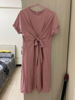 粉色休閒洋裝 扭結 綁帶