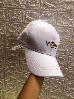 白色刺繡 微笑棒球帽 老帽 鴨舌帽