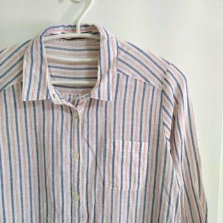 日系品牌 OLIVEdesOLIVE 直條紋棉麻襯衫洋裝 外套罩衫 附綁帶