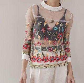 Incredibly Unique! Sheer Hand Embroidered Floral French Blouse