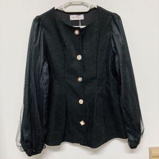 日本pumpkin質感黑蕾絲袖上衣
