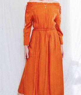 So Soft! Tangerine Peek A Boo Rayon Midi Dress
