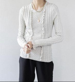 Luxurious Zara Italian Yarn Creamy Ruffled Sweater