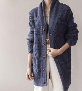 Super Soft! Pendleton Navy Blue Wool and Knit Long Sweater