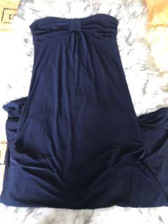 Tube Navy Blue Long Dress