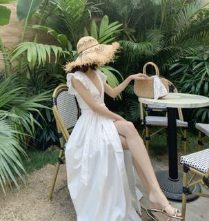 Classy White Maxi Dress w/ Slit