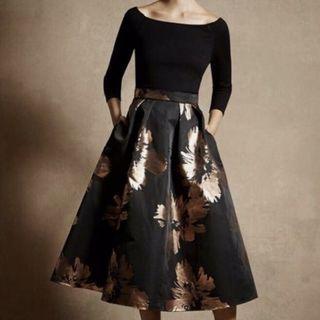 英國品牌Coast黑底燙金大蓬裙