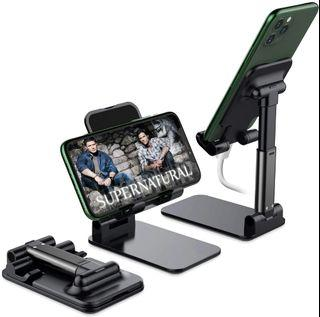 Foldable Cell Phone Stand, Angle & Height Adjustable Desk Phone Holder with Stable Anti-Slip Design Compatible with iPhone/Smartphones/iPad Mini/Kindle