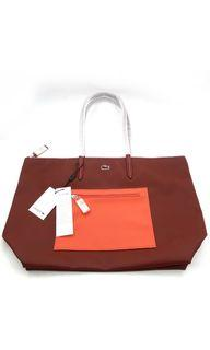 Lacoste Burnt Henna & Coral Large Shopping Tote