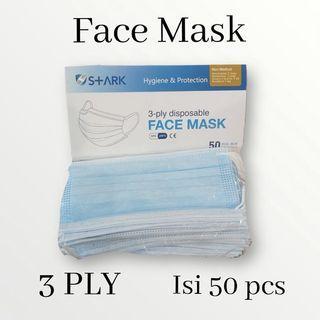 masker 3ply 50 lembar/masker bedah/3 ply face mask earlop