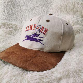 Vtg 90s Elm Fork Texas Shooting Range Cowboy Suede Cap Hat