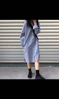 全新雙口袋霧藍襯衫洋裝