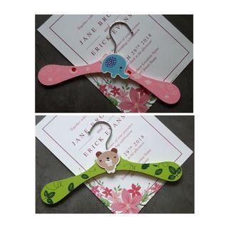 超可愛大象粉色&熊貓熊綠色 兒童木頭衣架