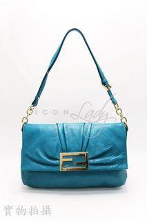 🎉 🎉貨主減價 👏🏻 👏🏻 FENDI 8BT163 Mia 湖水綠色小牛皮 手挽袋 側肩袋 手袋 (特價 : HK$4,280->->減至->-> HK$3,580)